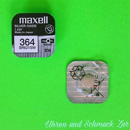 1x Maxell 364 Uhren-Batterie Knopfzelle SR621SW AG1  Neu Silberoxid