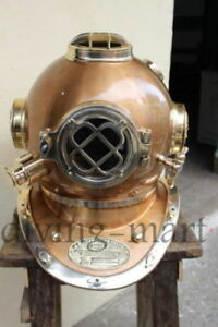 "Maritime Antiques Antique Morse Diving Divers Helmet U.s Navy Model Solid Brass Full Size 18"" Gift Curing Cough And Facilitating Expectoration And Relieving Hoarseness"
