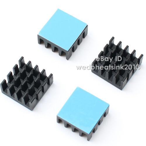 100pcs Black Aluminum  HEATSINK Small Square14x14x7mm With Thermal Stick Tape