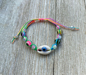Cowrie shell anklet multicolor seed beads white yellow blue green