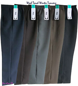 Ladies-Women-s-Winter-Half-Elastic-Wool-Touch-Causal-Quality-Work-Trousers-Pants