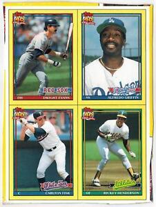 Rare Topps Wax Box Cards Uncut Panel Rickey Henderson