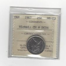 **1967 EXTREMELY RARE** ICCS Graded Canadian, NICKEL, 25 Cent, **MS-62**