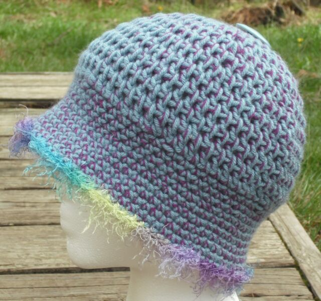 Charming & Playful Blue Acrylic Smaller Crocheted Cloche - Handmade by Michaela