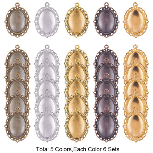 30 Pcs Oval Pendant Trays Bezel with Dome Glass Cabochon for DIY Jewelry Making