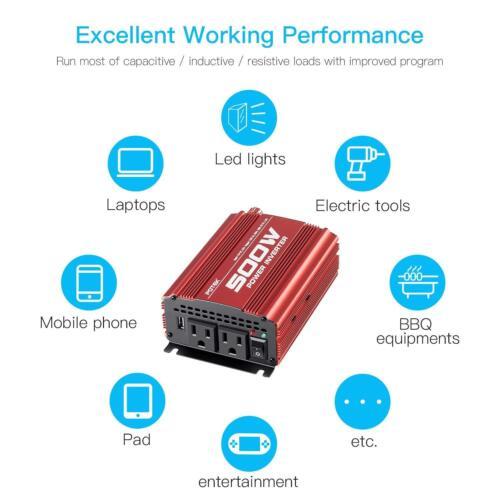 POTEK 500W Car Power Inverter DC 12V to AC 110V with 2 AC outlets 2A USB Port