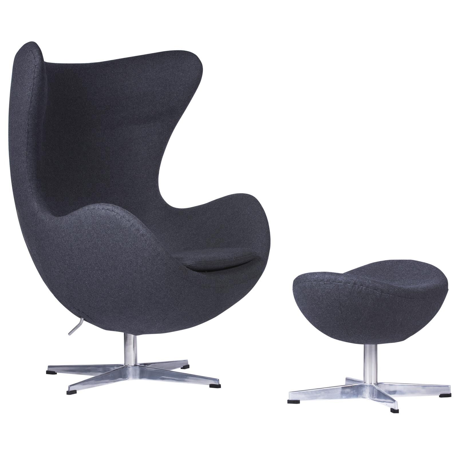 Arne Jacobsen Style Egg Chair Ottoman In Dark Gray Wool