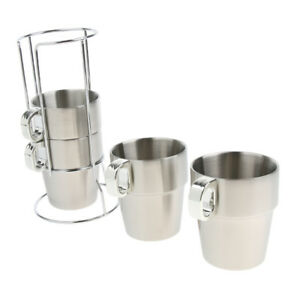 Stackable Coffee Mugs Stainless Steel Tea Water Wine Glasses Cups with Rack