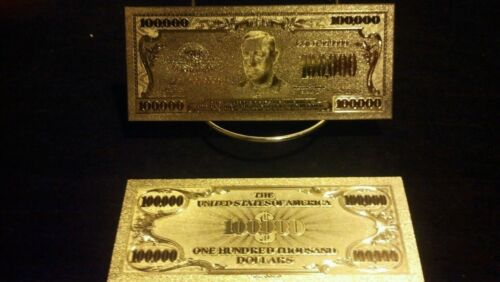 $100,000,$10000,$5000,$1000,$500 ~GOLD Banknote SET COLLECTIBLE BILLS FREE S/&Hyv