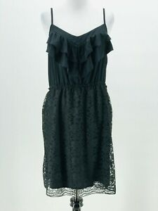 Xhilaration-Juniors-Black-Ruffle-Spaghetti-Strap-Slip-Dress-Size-Large