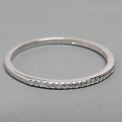 TRENDY AAA CUBIC ZIRCONIA STUDDED 925 SILVER THIN SHINY FINISH BAND STACK RING