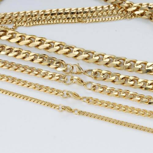 Men Boy 3//5//7//9//11mm 18-36 inch Gold Cuban Link Chain Necklaces Stainless Steel