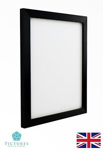 Black-Photo-Picture-Frame-19mm-A6-A5-A4-A3-With-or-Without-Mount-Glass-Perspex