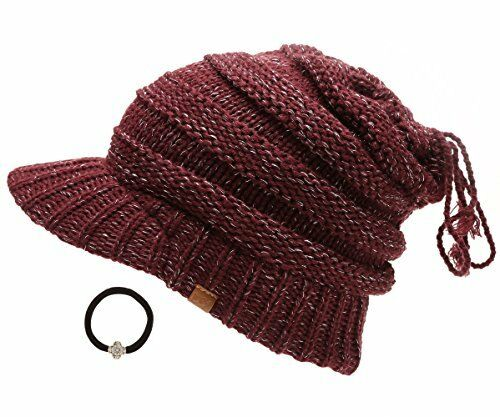 D/&Y Women/'s Beanie Tail Cable Knit Visor Ponytail Beanie Hat with Hair Tie.