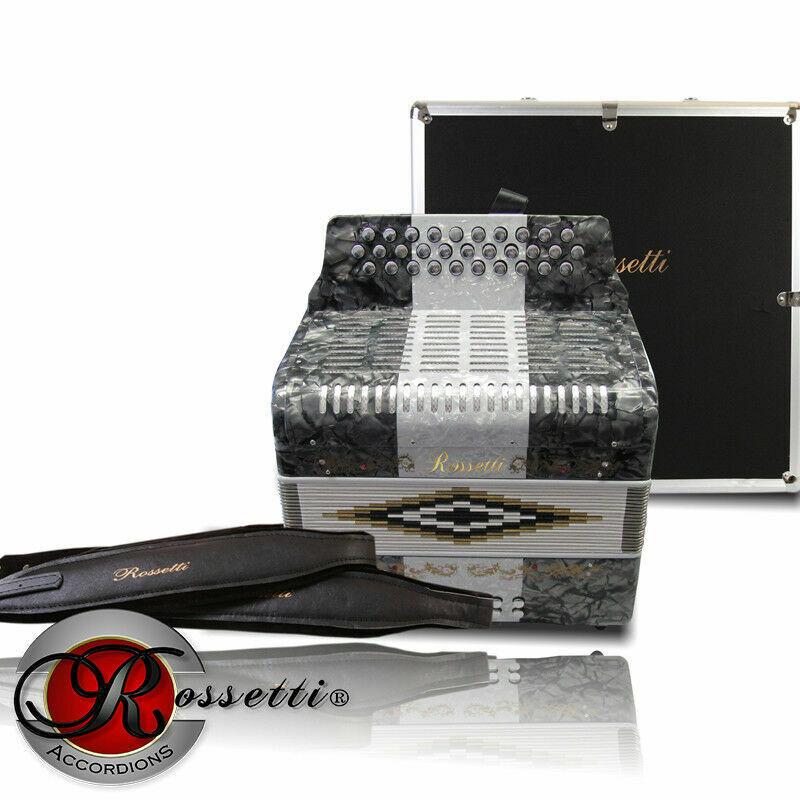 Rossetti R3112-GCF-GWG Sol 31 Button Diatonic Accordion grau Weiß w  Case - New