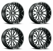 Set 4 22x12 Vision 402 Riot Black Machined Truck Wheels 6x55 51mm With Lugs