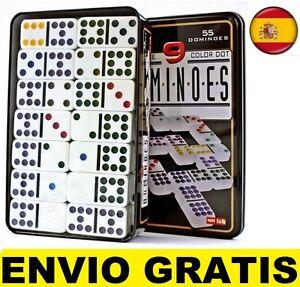 Juego de Domino doble 9 de colores 55 fichas + caja metal Dominoes
