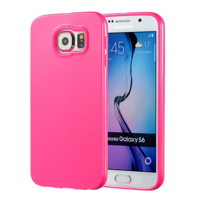 official photos ff398 922ce Pink Samsung Galaxy S6 Case Silicone Bumper GEL Soft Cover TPU Rubber Skin