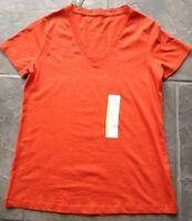 Womens' Eddie Bauer Orange Lace V-neck Short-sleeved Shirt In S Or L.