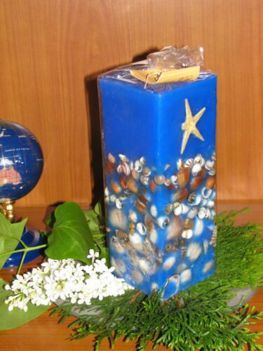 maritime Duft-Kerze mit Muscheln*Aroma Vanille*6,5x6,5x18,5*verschiedene Farben