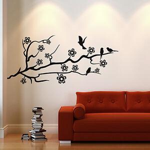 Wandtattoo Kirschblüten Baum Ast Blüten Ranke Aufkleber Wandaufkleber Wand #2047