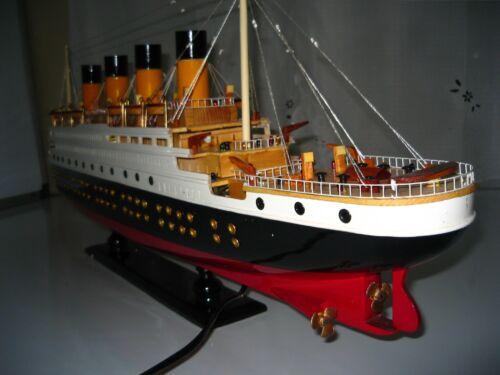 "Titanic wooden model cruise ship w// flashing light 32/"" fully assembly"