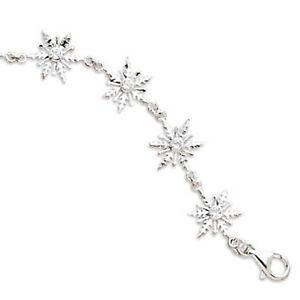 Image Is Loading 8 034 Polished Cz Snowflake Bracelet 925 Sterling