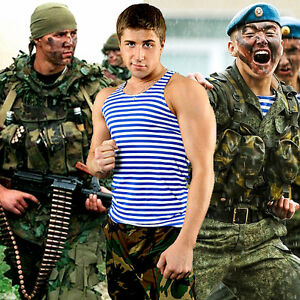 Sizes S-3XL Mens Sleeveless STRIPED Navy Russian Military Telnyashka Navy Shirt