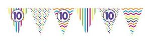 12ft-RAINBOW-10-BIRTHDAY-FLAG-BUNTING-CHILDRENS-10th-STRIPES-SPOTS-DECORATION