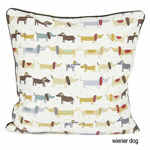 Brand New 100% Weiner Dog Cotton Cushion Cover Decorative Throw Pillow Cover