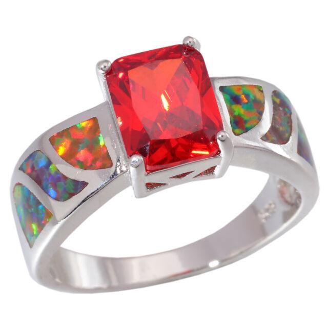 Orange Fire Opal Orange Garnet Women Jewelry Gems Silver Ring 5-13 OJ5403