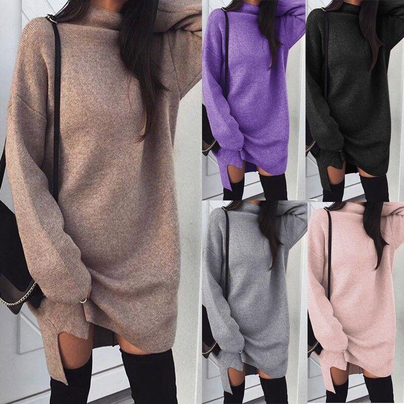 Damen Strickkleid Pullikleid Rollkragen Spliss Winter Lang Pullover Sweatshirt