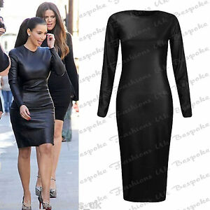 b1c0969457555 Details about Ladies Womens Black Long Sleeve PU Wet Look Bodycon Midi Dress  Plus Size 8-20