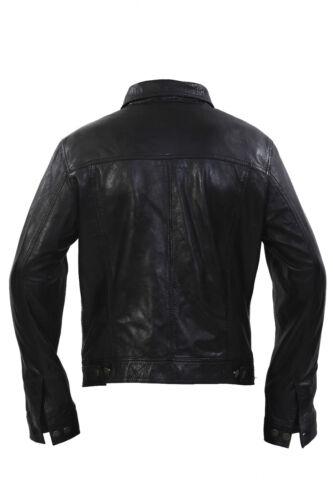 noir Casual cuir Infinity Jeans en Style Veste Veste Fit Mens Slim Cna0xg5