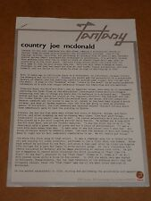 Country Joe McDonald 1976 Fantasy Records Press Release