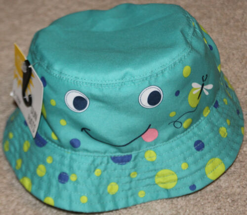 NWT infant girl GOLDBUG touch closure SUN HAT blue//green POLKA DOT size 6-18 MTH