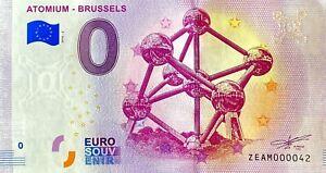 BILLET-0-EURO-ATOMIUM-BRUSSELS-BELGIQUE-2018-NUMERO-42