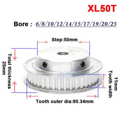 MXL 50T Timing Belt Pulley Gear Wheel Sprocket 6-19mm Bore For 6//10mm Width Belt