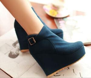 Stivali stivaletti invernali comodi scarpe donna  zeppa 8 cm azzurro   donna 68ab5c