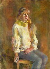 """Russischer Realist Expressionist Öl Leinwand """"Frau in Gelb"""" 80x60 cm"""