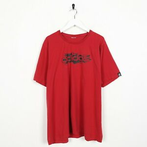 Vintage-ADIDAS-Big-Spell-Out-Logo-T-Shirt-Tee-Red-XL