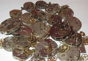 25g-WHOLE-WATCHES-PARTS-Pieces-Old-Gears-Plates-Steampunk-Watch-Movements-Rust