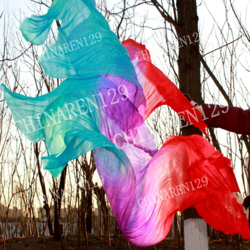 CARRY BAG 1.5M BELLY DANCE 100/% SILK BAMBOO FAN VEILS red purple blue 3366