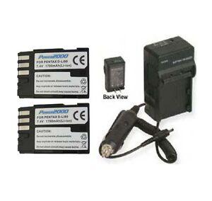 Two-2X-D-LI90-Batteries-Charger-for-Pentax-K-7-K-5-K5-645D-K-5-II-K-5IIs-K-3
