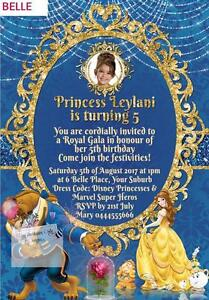 Disney princess belle beauty the beast birthday party invitations image is loading disney princess belle beauty amp the beast birthday filmwisefo