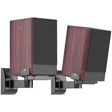 Side Clamping Bookshelf Speaker Wall Mount Brackets for Surround Sound (Black)