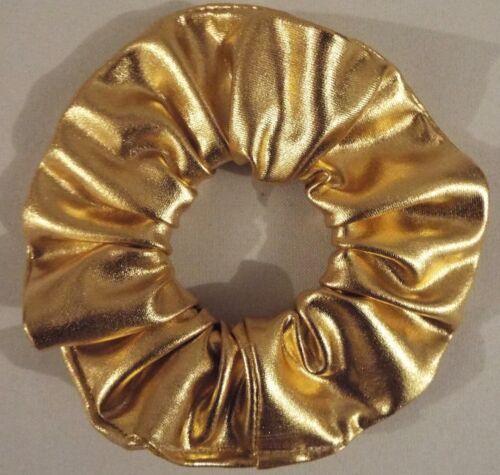 GOLD METALLIC SCRUNCHIE HAIR ELASTIC BAND BOBBLE LADIES GIRLS NEW