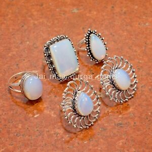 New 5 Pcs Lot Milky Opalite Gemstone 925 Sterling Solid Silver Rings RS-47