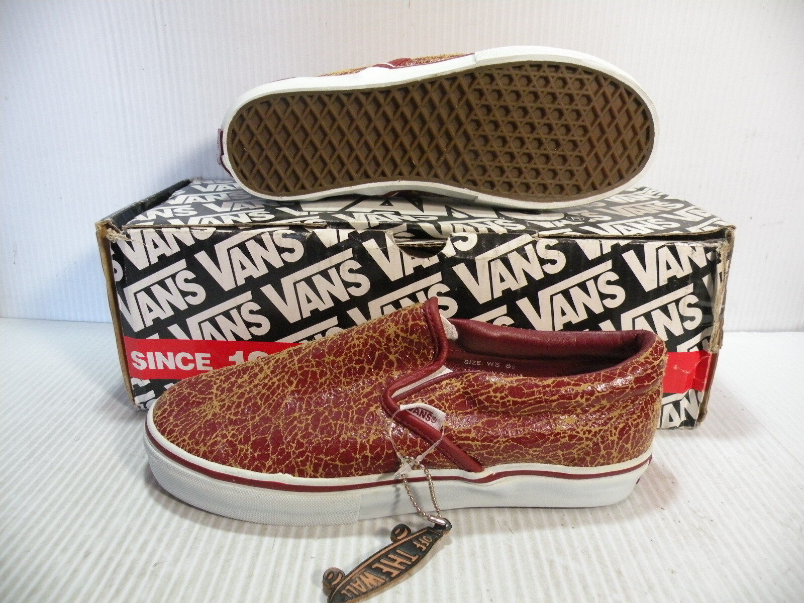 VANS CLASSIC SLIP-ON LEATHER WOMEN SHOES BURGUNDY TAN 785344 SIZE 8.5 NEW