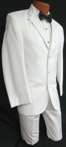 Men/'s White Perry Ellis Tuxedo with Pants Clearance Cheap Wedding Cruise Prom